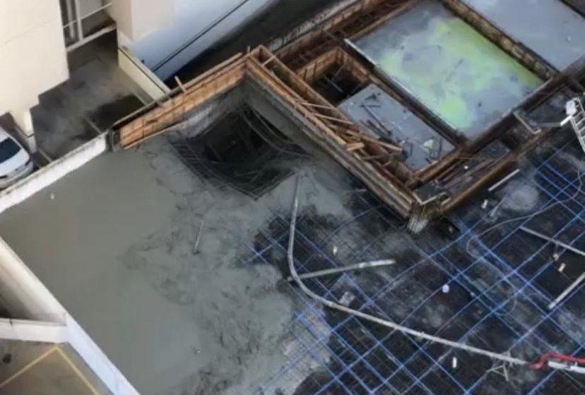 Laje de prédio em construção em Vila Velha cede e pedreiro fica ferido