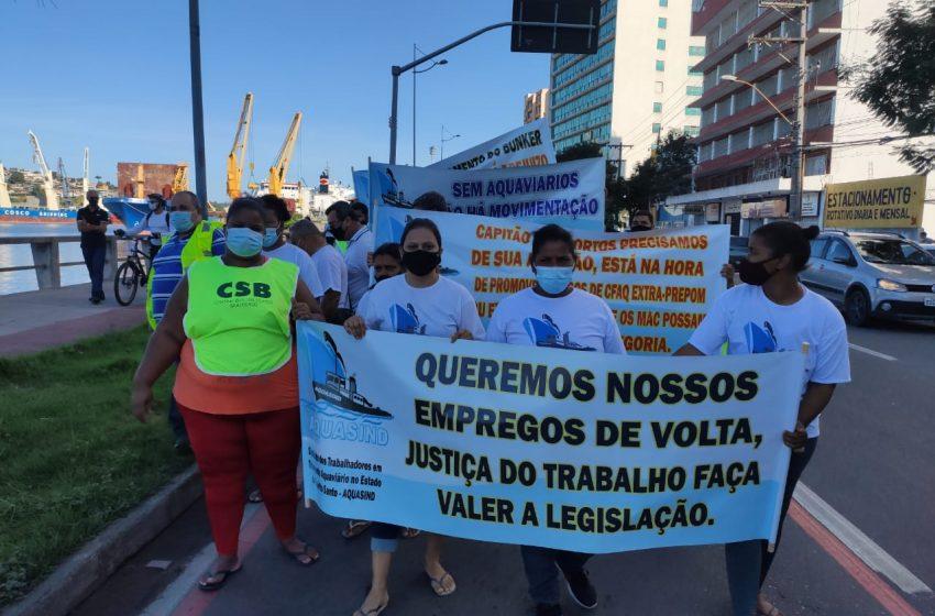 Aquaviários protestam em Vitória por melhorias nas condições de trabalho