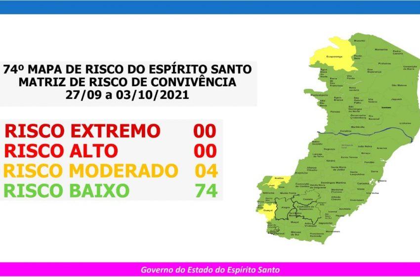 Sobe para quatro o número de municípios capixabas em risco moderado para a Covid-19